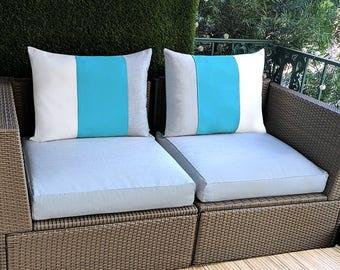 Sunbrella Outdoor Cover SET, Blue, White, Grey Stripe, IKEA ARHOLMA