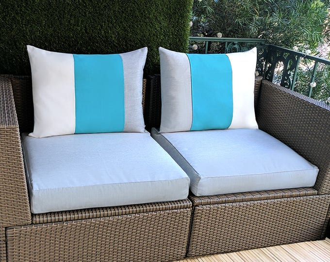 Sunbrella Pillow Covers, Blue, White, Grey Stripe, IKEA ARHOLMA