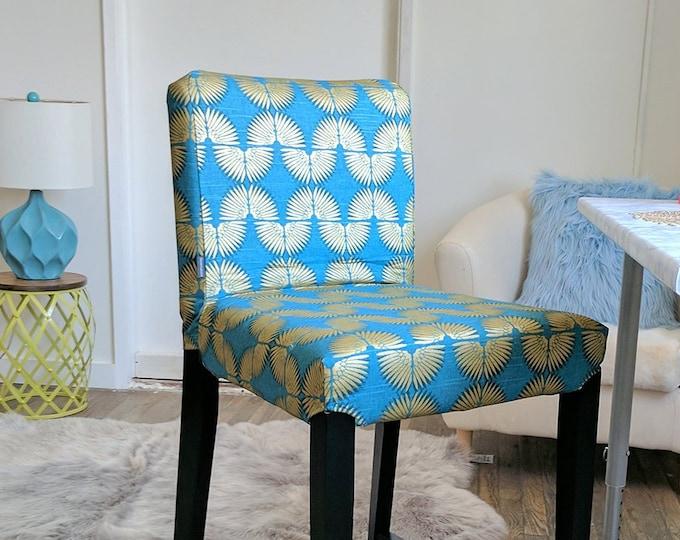 Tribal Print HENRIKSDAL Bar Stool Chair Cover, Caterpillar Turquoise Peacock Blue, Metallic Gold