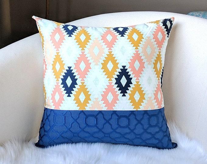 Patchwork Navy Blue Pink Gold Diamond Print Pillow Cover