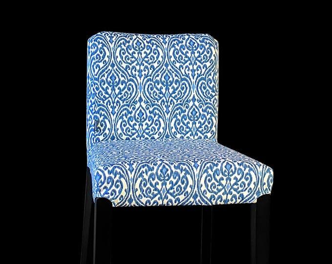 Regal Blue Print IKEA HENRIKSDAL Stool Chair Cover, Sri Lanka Indigo