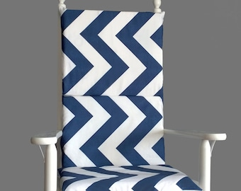 Thick Navy Chevron Rocking Chair Cushion
