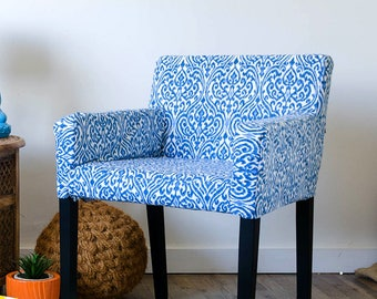 Custom IKEA NILS Chair Slip Cover, Regal Ikat Srilanka Indigo Blue