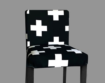 Black White Swiss Cross Henriksdal Stool Cover