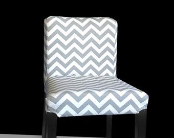 TWO Henriksdal Bold Gray White Chevron Chair Covers