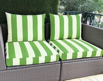 IKEA Hallo OUTDOOR Slip Cover, Ikea Kungso Cushion Covers, Custom Ikea Decor, Bespoke Arholma Covers, Green Beige Canopy Stripe