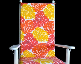 Big Leaves Rocking Chair Pad, Orange Leaf Seat Covers