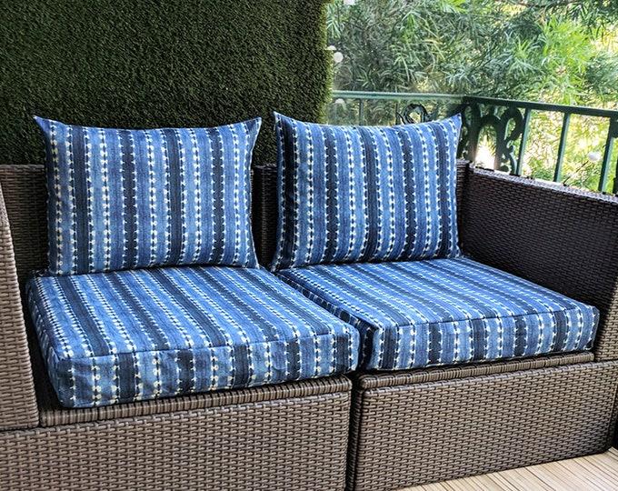 Featured listing image: Bohemian Indigo Blue IKEA Kungso OUTDOOR Slip Cover, Ikea Hallo Cushion Covers, Custom Ikea Decor, Bespoke Arholma Covers, Mudcloth Denim