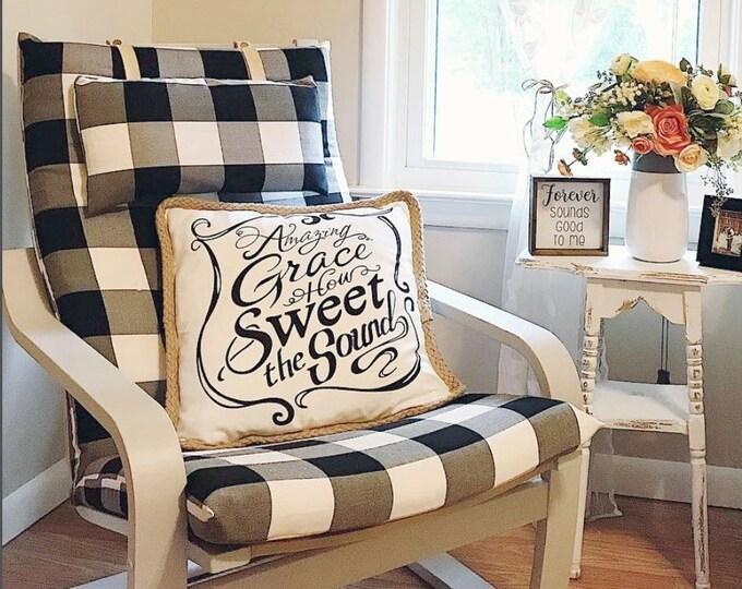 Plaid Buffalo Check IKEA POÄNG Cushion Slipcover, Black Ikea Chair Cover