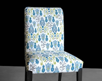 Ikat Green Blue IKEA HENRIKSDAL Custom Dining Chair Cover
