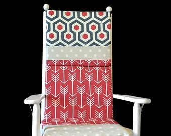 Rocking Chair Cushion Cover, Grey Polka Dot Patchwork Seat Covers, Ready to Ship