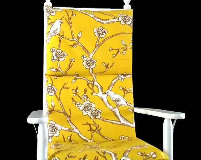 Yellow Floral Rocking Chair Cushion, Dwell Studio Vintage Blossom Citrine, Ready to Ship