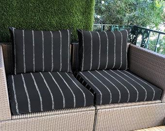 Black IKEA Outdoor Cushion Slipcovers, Custom Ikea Decor, Bespoke Covers, All Styles, Spotty Stripe Black