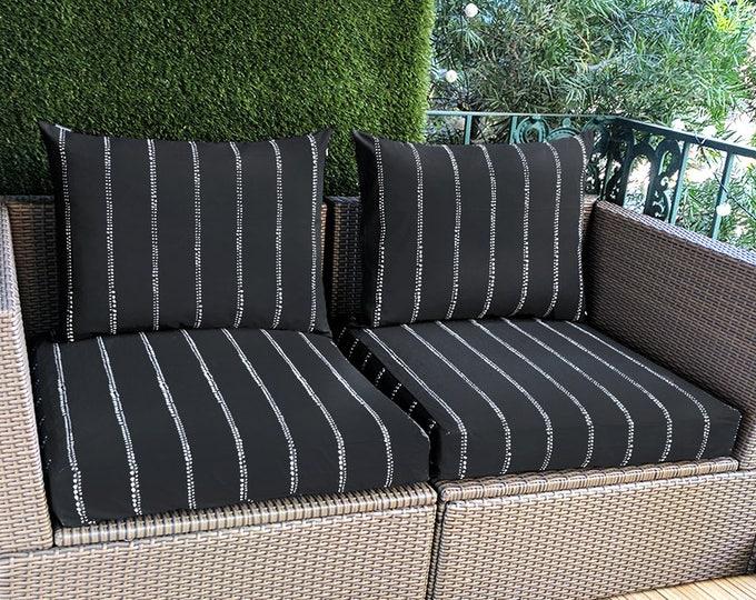 IKEA Hallo OUTDOOR Slip Cover, Ikea Cushion Covers, Custom Ikea Decor, Bespoke Arholma Covers, Spotty Stripe Black