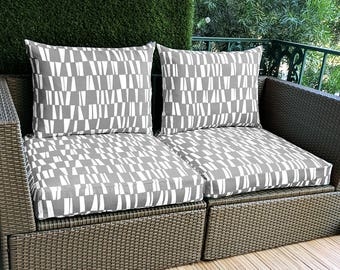 IKEA Hallo SEAT COVERS Gray Sticks Pattern, Ikea Cushion Covers, Custom Ikea Decor