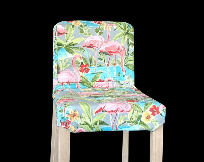 Pink Flamingo HENRIKSDAL Stool Cover, Tropical Henriksdal Slipcover