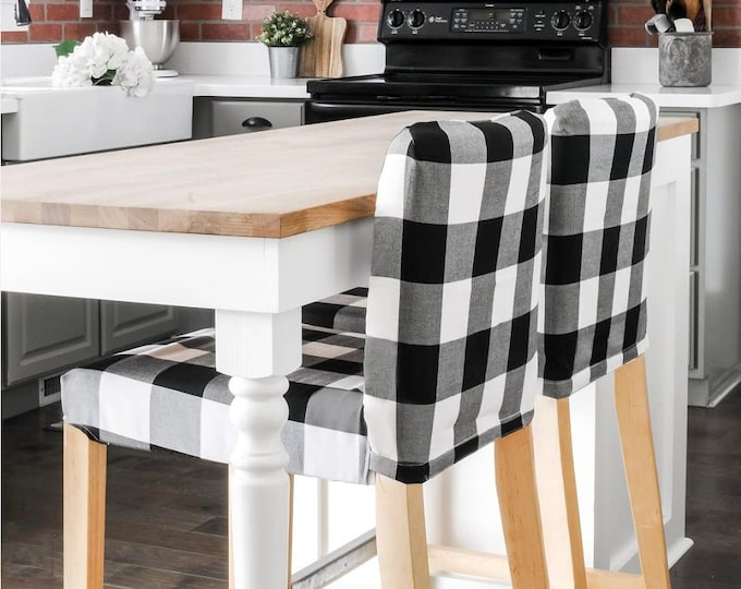 Black Plaid Buffalo Check Print HENRIKSDAL Bar Stool Chair Cover
