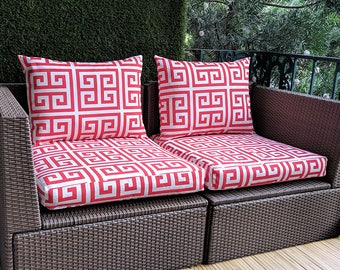 IKEA OUTDOOR Slip Cover, Ikea Cushion Covers, Bespoke Arholma Covers, Greek Pattern Red