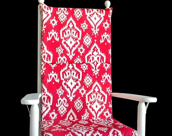Red Ikat Rocking Chair Cushion