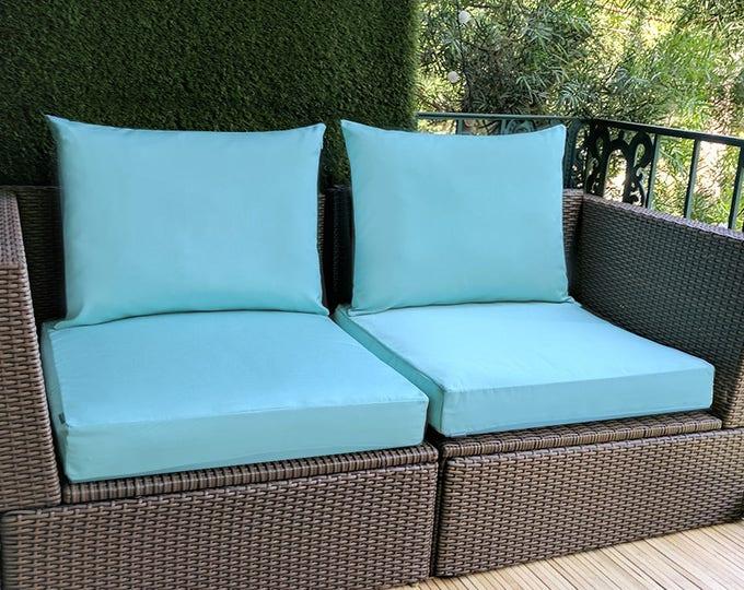 IKEA OUTDOOR Slip Cover, Plain Blue Ikea Cushion Covers, Custom Ikea Decor, Bespoke Arholma Covers, Sunbrella Glacier Blue