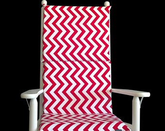 Red White Chevron Rocking Chair Cushion, Ready to Ship
