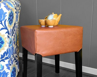 Stool Cover, IKEA Nils, Faux Leather Brown