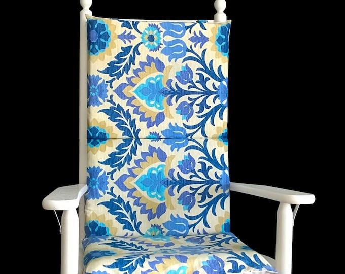 Blue Flowers Rocking Chair Cushion