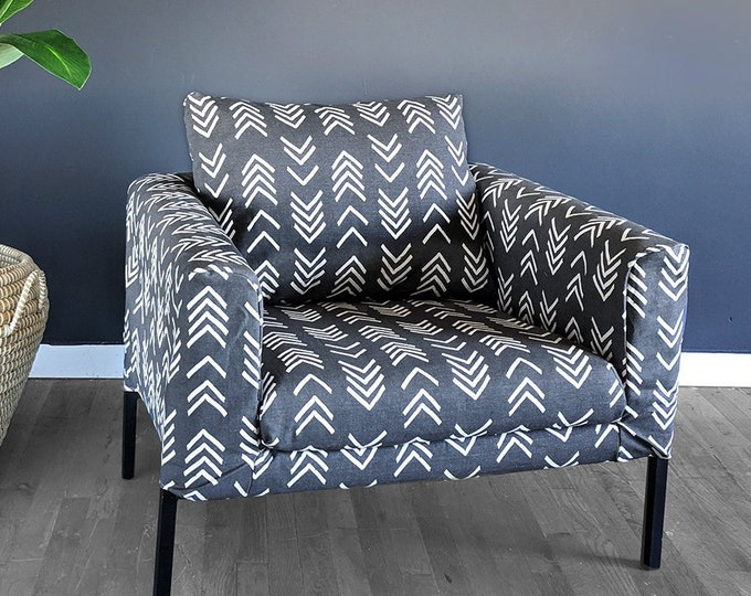 Featured listing image: Arrows Tribal Print IKEA KOARP Chair Covers, African Ikea Decor, Dark Gray Indoor Mudcloth Chair Cover Custom Chair Slip Cover