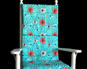 Turquoise Circle Pattern Retro Rocking Chair Cushion Cover