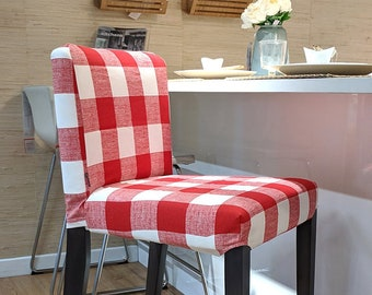 IKEA Bar Stool Chair Cover, Red Buffalo Check Print HENRIKSDAL