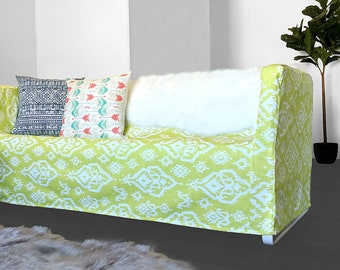 IKEA Couch Cover for KNOPPARP,  Lime Green Ikat Print