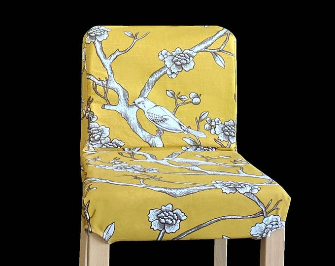 Gold Flower Birds IKEA HENRIKSDAL Chair Cover