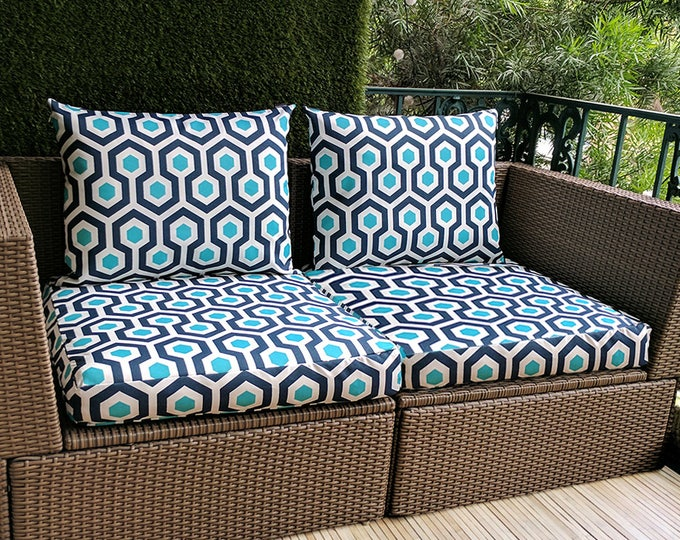 IKEA OUTDOOR Geometric Slip Cover, Ikea Cushion Covers, Custom Ikea Decor, Bespoke Arholma Covers, Navy Blue Turquoise Magna Oxford