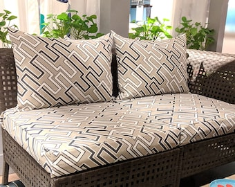 Outdoor Ikea Furniture Covers, Geometric Beige Print - *Fits Ikea ONLY*