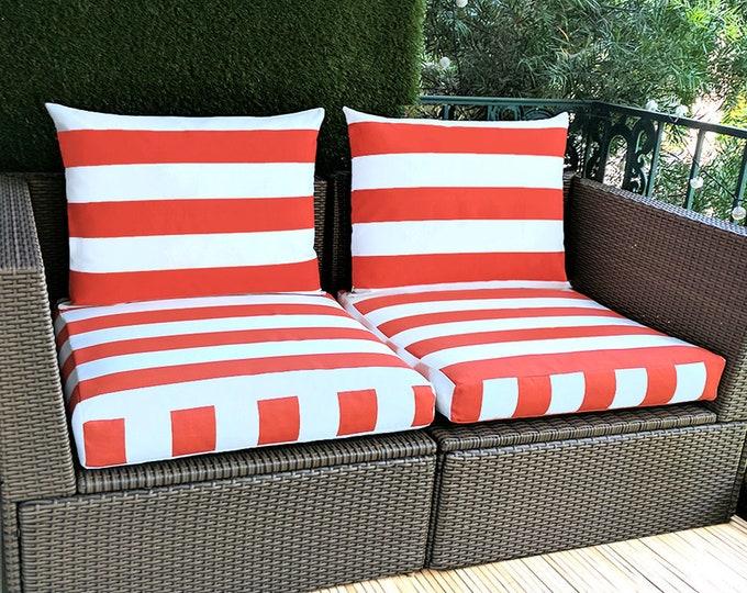 Orange White Cabana Stripe IKEA Kungso Hallo OUTDOOR Slip Cover, Ikea Cushion Covers, Custom Ikea Decor, Bespoke Arholma Covers