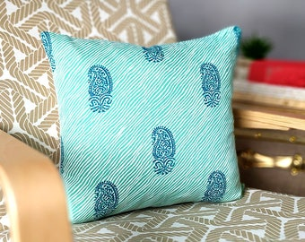 """Mint Green Ikat Stripe Pillow Covers, 18"""" x 18"""", Ready to Ship"""