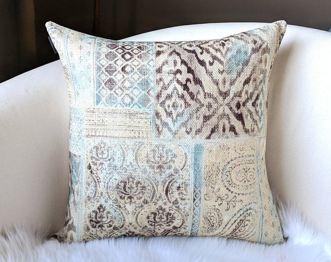 Kilim Style Printed Pillow Cover, Blue, Beige