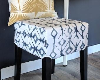 Shibori Indigo Blue Tribal Print, IKEA Stool Seat Cover