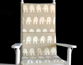 Nursery Room Rocking Chair Cushion, Beige Elephants