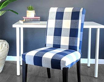 Buffalo Check Navy Blue IKEA HENRIKSDAL Dining Chair Cover, Traditional Style Henriksdal Slipcover