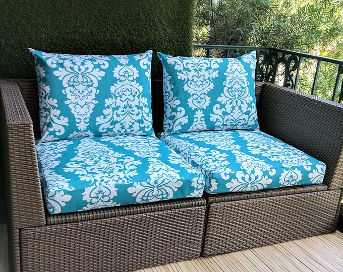 IKEA OUTDOOR Slip Cover, Ikea Kungso Cushion Covers, Custom Ikea Decor, Bespoke Arholma Covers, Damask Turquoise Blue Berlin