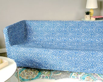 IKEA KNOPPARP Slip Cover, Sri Lanka Indigo Blue, 3 Seater Sofa Cover
