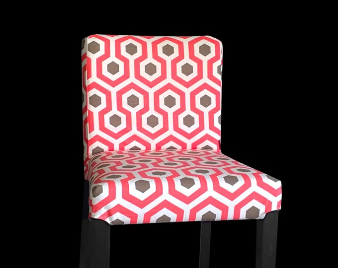Two Red Geometric Henriksdal Bar Stool Covers