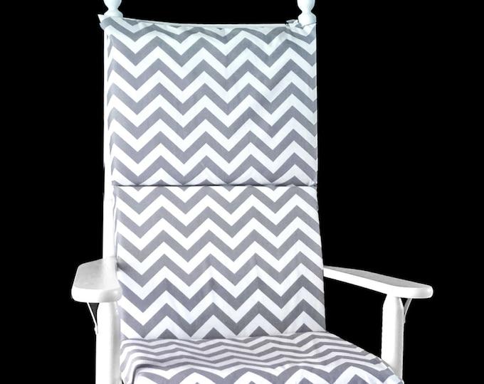 Gray White Chevron Rocking Chair Cushion