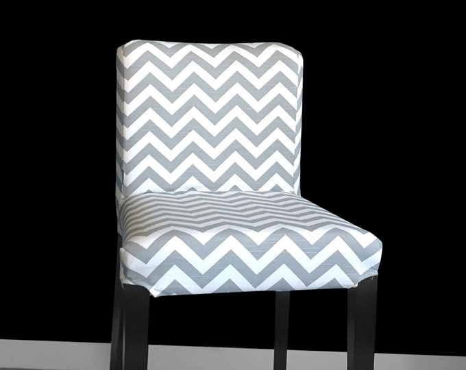 PAIR of Ikea HENRIKSDAL Bar Stool Chair Covers - Grey Zig Zag Chevron, SALE