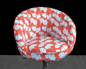 IKEA SKRUVSTA Chair Slip Cover, Orange White Hawaiian Flower