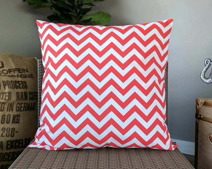 """EXTRA LARGE Outdoor Pillow Cover, Chevron Red 26"""""""