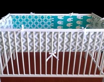 Turquoise Elephants Cot Crib Bumper