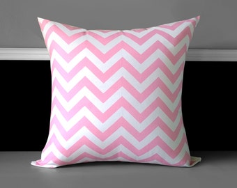 "Baby Pink Chevron Euro Pillow Cover 20"" x 20"", Ready to Ship"