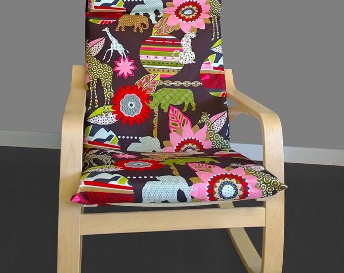 Flower IKEA POANG Cushion Slipcover, Animal Print Custom Ikea Cover, Safari Print Ikea Covers